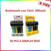 Backwoods Law Twist Pré-aqueça Bateria VV 900mAh Bottom Tensão Ajustável Carregador USB Vape Pen 30 PCS com caixa de exibição ego