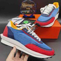 LD 메쉬 남자 실행 신발 최고 품질 검은 나일론 정상 회담 흰색 파란색 멀티 스 니커 상자 크기 36-45