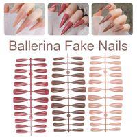 False Nails 240pcs Long Fake Solid Color Ballerina Coffin Press On Manicure Nail Tips DIY For Home Salon Polish