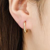 Plata color geométrico oval pendientes pequeños aro para mujeres prevenir la joyería de regalo de alergia Huggie
