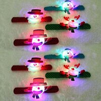 Party Decoration 2pcs LED Light Glow Christmas Dazzling Toy Xmas Slap Circle Bracelet Wrist Band OCT998