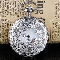 Pocket Watches Unique Gear Hollow Design Quartz Watch Necklace Fashion Brand Pendant Gifts For Men And Women