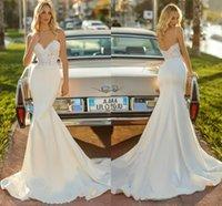 Simple Mermaid Wedding Gowns 2021 Sexy Spaghetti Straps Bohemian Lace Appliques Sweep Train Bridal Dress Country Style Open Back Vestidos de Novia Plus Size AL9236