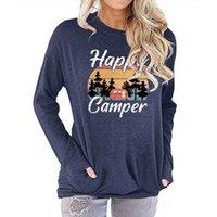 7 цветов женские карманные капюшоны круглые шеи с длинным рукавом Свитер 5 Размеры Женщины Мать Напечатана Счастливый турист Блузка lla612