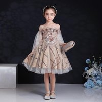 Girl's Dresses Fashion Shoulderless Flower Little Girls Princess Dress Kids Party Pageant Wedding Bridesmaid Tutu Ball Gown Formal Clothing