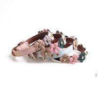 PET Supply Cuero Collares de perro PU con corbata floral simple para perros pequeños OWB6154