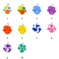 Push Bubble Keychain Kids Bears Paw Party Novel Fidget Keychains Simple Dimple Toy Pop Toys Key Holder Rings Bag Pendants Decompression Gifts DHL