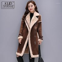 Kadınlar Faux Deri Kuzular Yün Ceket Kadın Uzun Kalın Sıcak Shearling Mont Süet Deri Ceketler Sonbahar Kış Kadın Giyim1
