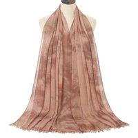 Прибытие галстук-окрашенные хлопчатобумажные Hijab шарф женские мусульманские осенние кисточка длинные шал платок роскошный дизайнерские женские шарфы бандана