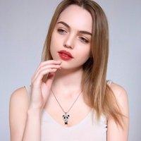 Collier de panda mignon coréen pour femmes Zircon Pendentif Pendentif Pull Sweater Chaîne Fashion Tendance Bijoux Cadeaux Filles 2021 Colliers