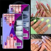 100pcs French Fake Nails Natural Solid Color Matte Full Half Tips False Nail Set Manicure Art Tool