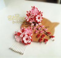 Party Masks Hand Made Hairpin Cotton Cloth Hair Clip Barrettes Japanese Anime Kimono Cosplay Accessories Sakura Tassels