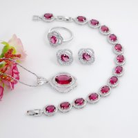 Ovale rose rouge 925 argent pour femmes meilleures bijoux de mariée boucles d'oreilles boucles d'oreilles neckalce bracelet ensemble