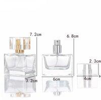 Square 30 ml de flacons de parfum de verre vide clair en gros spray de bouteille d'huile essentielle pour parfums Emballage cosmétique DHF6137