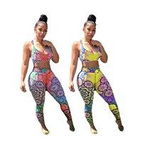 Frauen Trainingsanzüge 2 Stück Set Sommer Kleidung Brust Wrap Yoga Anzüge Sexy Sleeveless Crop Top Weste Leggings Sportswear Teetop Hose Bodysuits T-Shirts Capris 01333