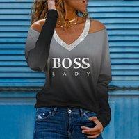 Летние женщины повседневные V-образные футболки письма печатают градиент холодного плеча длинные рукава топы нинин