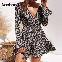 Aachoae Women Summer Dress Leopard Print Boho Beach Dresses Casual Ruffle Long Sleeve A-line Mini Party Dress Vestidos 210915