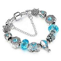 Pandora-style blue air balloon crystal alloy big hole bead bracelet European style DIY jewelry
