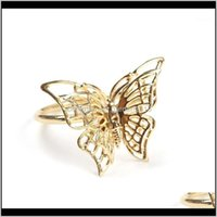 Rings 6Pcs Creative Golden Butterfly Napkin Restaurant Ring Plating Towel Buckle El Table Decoration1 Olhoo Vewcg