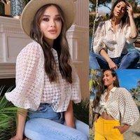 Frauen Elegante Boho Blumen Tops Blusen Laternenhülse Sheer Shirt Tops Damen sehen durch beiläufige lose Bluse Streetwear