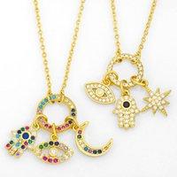 Pietra malvagia occhio collana per le donne rotondo luna stella hamsa mano charms cz gold designer protezione gioielli Nket77 collane pendente
