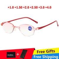مكافحة الضوء الأزرق القراءة نظارات المرأة بدون انقطاع فرط الباطن النظارات حمراء الإطار pressbyopic +1.0 1.5 2.0 2.5 3.5 3.5 النظارات الشمسية