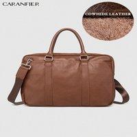 CARANFIER Mens Briefcase Simple Solid Ducument Bags Leather Business Laptop Computer Bag Crossbody Soft Handle Zipper Travel Bag a_bar