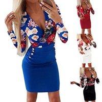 Casual Dresses Women Streetwear Bodycon Dress Patchwork Design Button Decor V-Neck Long Sleeve Flower Print Lady Slim Mini