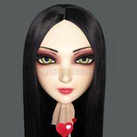 Festa máscaras (zi-01) fêmea menina doce resina meia cabeça kigurumi máscara com olhos bjd cosplay japonês anime papel lolita crossdress boneca