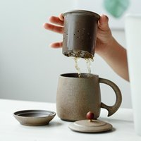 Stoare Cup E Ceramic Filter Office Mugs With Lid Japanes Style Handmade Retro High Temperature Resistant Personal Pot