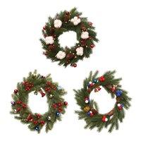 أضواء زينة عيد الميلاد الصنوبر مخروط كرمة الدائرة القطن بيري جرس الديكور الباب شنقا أكاليل الزهور الزخرفية