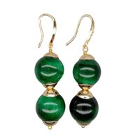 YYGEM 14mm Green Tigers Eye Smooth Round Dangle Hook Earrings