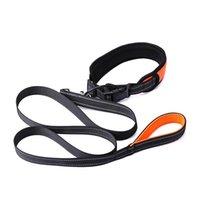 Dog Collars & Leashes High Pet Collar Set Reflective Adjustable With PU Leash For Medium Large UEJ