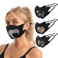 米国在庫ファッションデザイナーマスクラインストーンラブハートパターンロープ伸縮性マスク通気性アンチダストブラックフェイスマスク