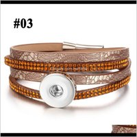 Charm Bracelets Jewelry Button Jewelry 18Mm Leather Snap Bracelet Wrap Multilayer Bohemian Leopard Leather1 Drop Delivery 2021 7Axxs