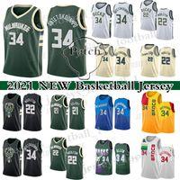 "Giannis 34 Antetokounmpo Jersey Milwaukee ""Bucks"" Ray Allen 22 Khris Middleton City 2021 Jerseys de basquete"