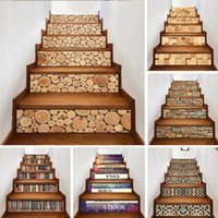 Yazi Self Adhesive 3D Wood Pattern Stairs Stickers Removable Pvc Stairway Waterproof Mural Wallpapers