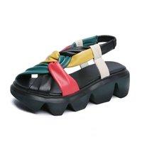 Лучшее качество прохладно толстые женские сандалии обувь красивые натуральные кожаные пантовки для дамских пляжных каникул