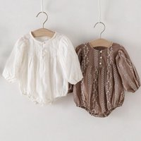 Rompers Retro Style Flower Embroidery Cotton Long Sleeve Bodysuits Spring Autumn Born Baby Girls Jumpsuit Overall Clothes