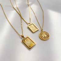 Chains 2021 Fashion Tarnish Free Tarot Sun Moon Gold Chain Necklace Stainless Steel Plated Necklaces For Woman Girl's Jewelry