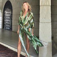Boho 인쇄 쉬폰 튜닉 섹시한 수영복 cover-ups 플러스 사이즈 비치 착용 기모노 드레스 여성 여름 수영복 커버 여성 수영복