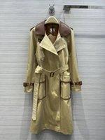 여성 트렌치 코트 2021 가을 긴 소매 옷깃 목 자켓 디자이너 브랜드 같은 스타일 겉옷 0828-1
