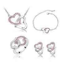Neueste Halskette und Ohrring Sets Herz Design Kristall Material Armband Ring Sets Exquisite Hochzeit Schmuck Sets 4022 9PFNU PRKK5 155 W2