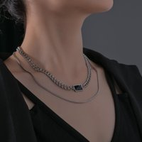 Chains Vintage Gothic Black Square Rhinestone Pendant Necklace Silver Color Cool Street Style For Men Women Gift Wholesale