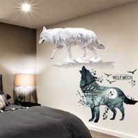 [Shijuehezi] horrible lobo pájaros pegatina de pared DIY animales mural decoración para casa sala de estar dormitorio dormitorio dormitorio decoración