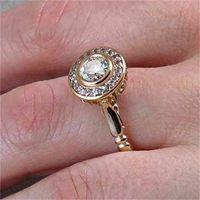 Luxus Weibliche Hochzeit Ring Set Vintage Kristall 18KT Gelbgold Farbe Stapelbare Ringversprechen Verlobungsringe Für Frauen 541 Q2
