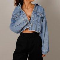 Vestes Femmes Automne Denim Cropped Jacket Femelle Pockets Trou Courtes Jean Mesdames 2021 Fashion Button Casual Manteaux solides