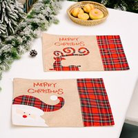 Christmas Placemats Buffalo Plaid Santa Gnomes Reindeer Dining Table Mats Home New Year Xmas Decoration GWB10557