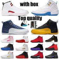 NikeAirJordanRetro12Jordans12sJumpmanAJ WITH BOX XII أحذية TOP QUALITY كرة السلة إمرأة رجل حذاء رياضة الحجر الأزرق الحريرالأردنالرجعية جامعة الذهب OVO المدربين