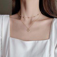 Chains Korea Exquisite Gold Color Love Pendant Double Chain Necklace For Women Zircon Hollow Heart Charm Long Choker